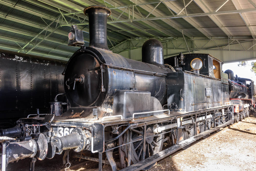 Small black steam locomotive numbered E 369