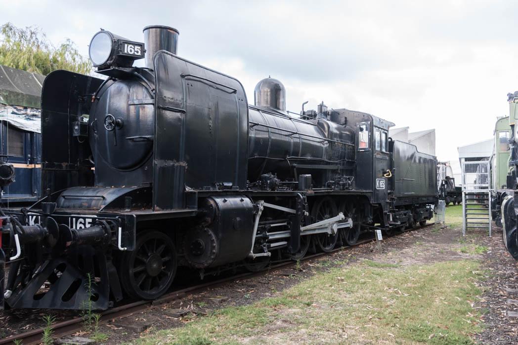 Black steam locomotive numbered K 165